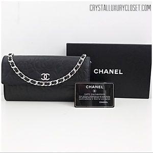 Authentic Chanel Camellia Classic Flap WOC Black